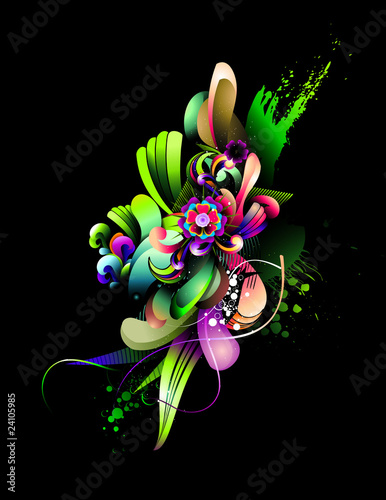 abstract neon floral vector