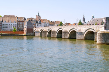 Medieval St. Servatius bridge over the river Meuse. Maastricht