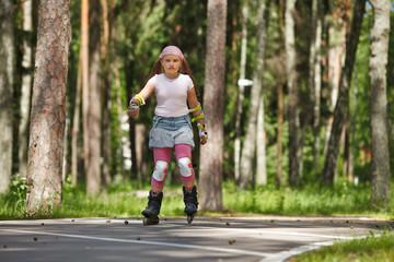 Girl riding rollerblades