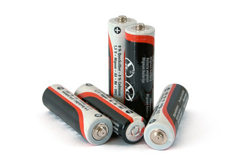 Five low-cost batteries on white