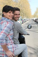 Balade à deux à moto