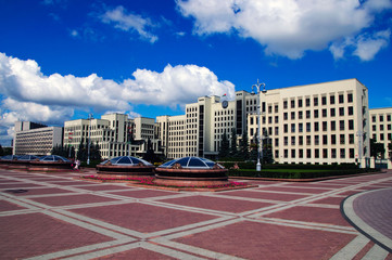 summer day belorussian landscape Minsk government house