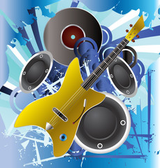 Music background with guitar - vector illustration