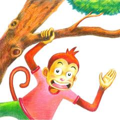 hello mongkey create by pencil color and crayon