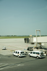 Airport tarmac and vehicles