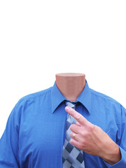 Businessman with no head for business