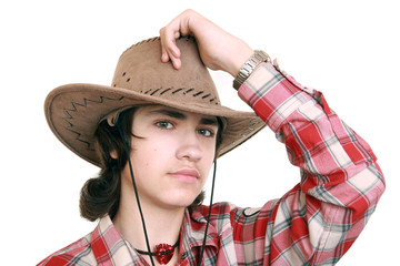 Teenager wearing a cowboy hat