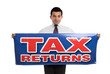 Man holding tax returns sign