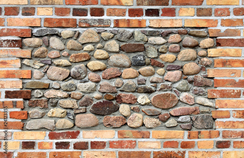 brick wall and stone wall