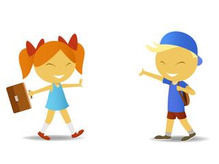 Schoolgirl and schoolboy