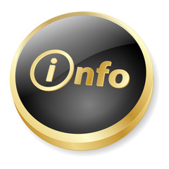 INFO Web Button (Information Sign Symbol Icon Golden 3D Vector)