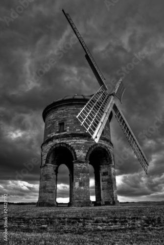 Chesterton Windmill, dark grey stormy weather and dark clouds