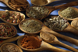 selection of spices in wooden spoons