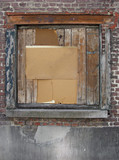 odd restored window with wood and metal poster