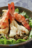 grilled giant gambas,pan-fried mousserons with garlic and chervil