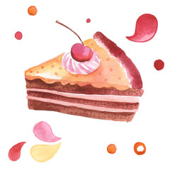 watercolor illustration with sweet cake