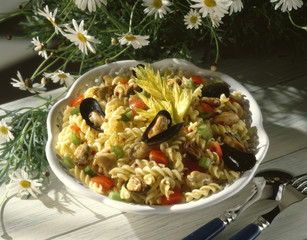 fusillis and mussel salad
