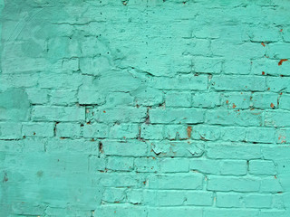 green vintage brick wall, closeup stone texture, retro