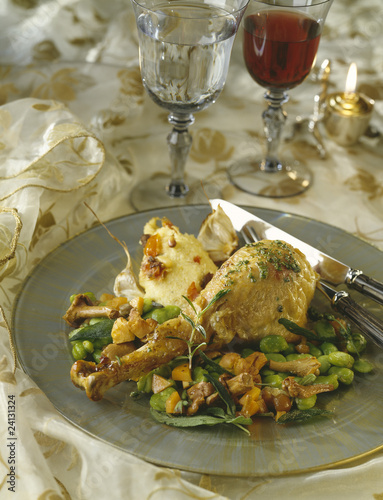 provençal-style turkey with steamed broad beans and chanterelles