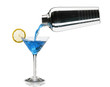 pouring a blue lagoon cocktail