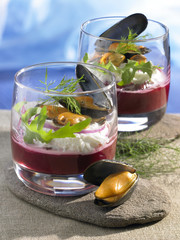 cream of beetroot with fromage frais and mussel verrines