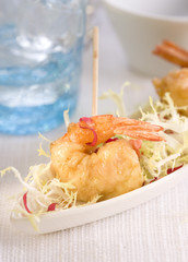 shrimp with bechamel sauce mini skewer