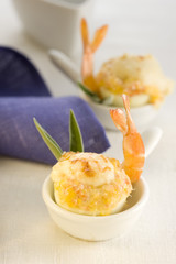 hard-boiled eggs stuffed with shrimps and smoked salmon