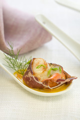 cecina roll filled with roast scallops