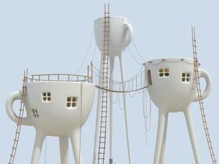 Surrealistic tea cups architecture forms
