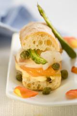 smoked salmon,green asparagus and caper mini sandwich