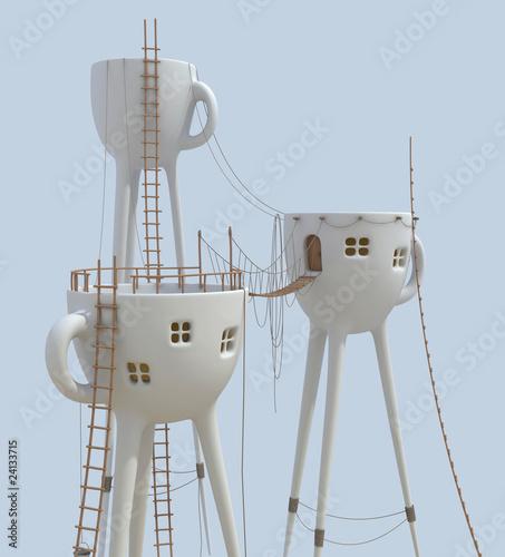 Surrealistic tea cups architecture forms - 24133715