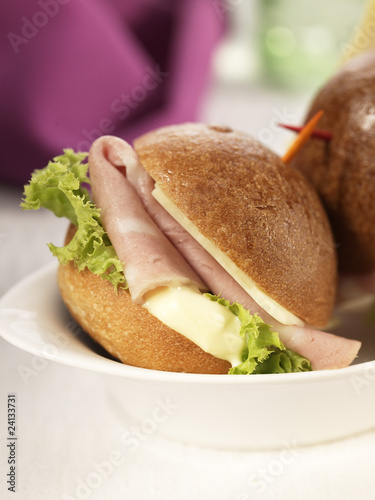 mortadelle,cheese and lettuce mini sandwich