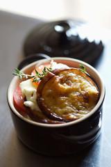 casserole dish of mozzarella and confit eggplants