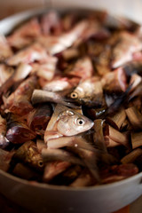 bowl full of fish heads