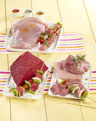 selection of raw pieces of turkey,pork and beef