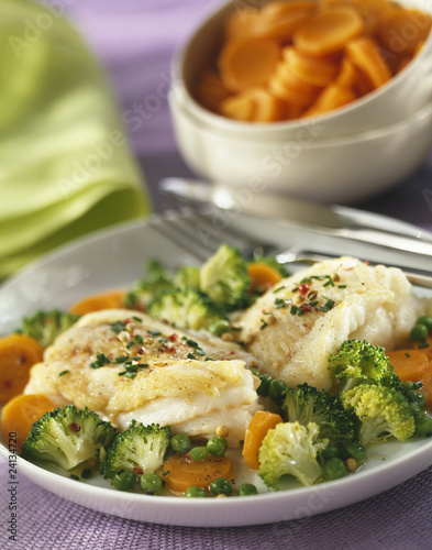 hake fillet with spring vegetables