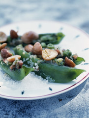 sugar peas stuffed with mousserons and sea salt
