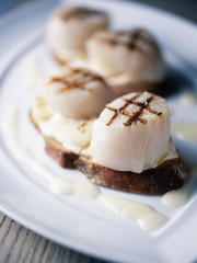 scallops on toast with white butter sauce