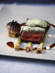 beef chop,cep and herb sauce