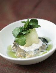 oysters with tarama,cucumber juice and watercress