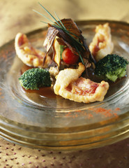 red mullet fillet fritters with soya sauce and crisp vegetables