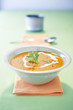 creamed pumpkin soup with nutmeg and chestnuts