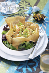 seafood curried fricassée in a crisp shell