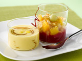 fruit crumble and custard with caramel