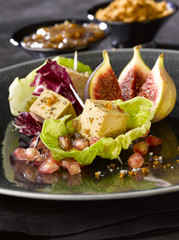 foie gras with figs and pomegranate seeds