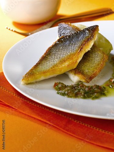 bass fillets with quenelle puree