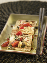 tofu with basil,tomatoes,capers and pine nuts