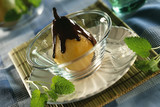 poached pear with chocolate sauce