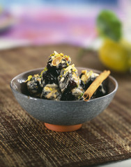 roast prunes with creamy cinnamon sauce
