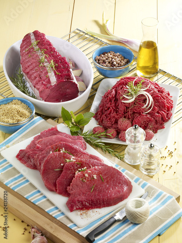 assorted pieces of raw beef